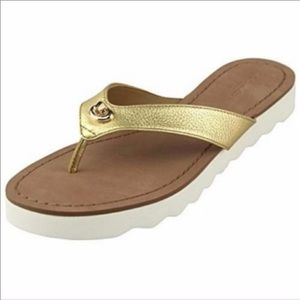 COACH Shelly Gold Leather Flip Flop Sandals